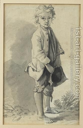 Jeune Garcon Pieds Nus attributed To Nicolas Bernard Lepicie A Barefoot Young Boy Pen, Black Ink And Grey Wash by (after) Nicolas-Bernard Lepicier - Reproduction Oil Painting