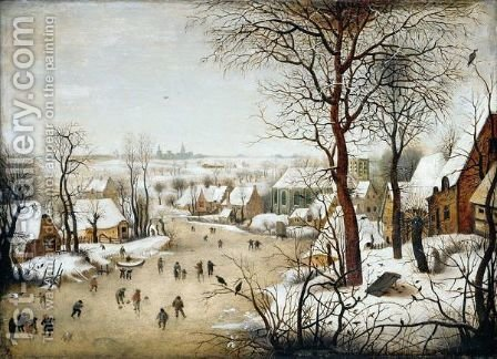 Winter Landscape With A Bird Trap by (after) Pieter The Younger Brueghel - Reproduction Oil Painting