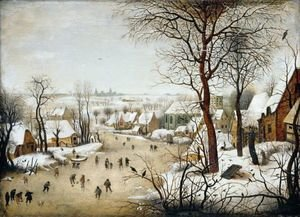 Famous paintings of Ice skating: Winter Landscape With A Bird Trap