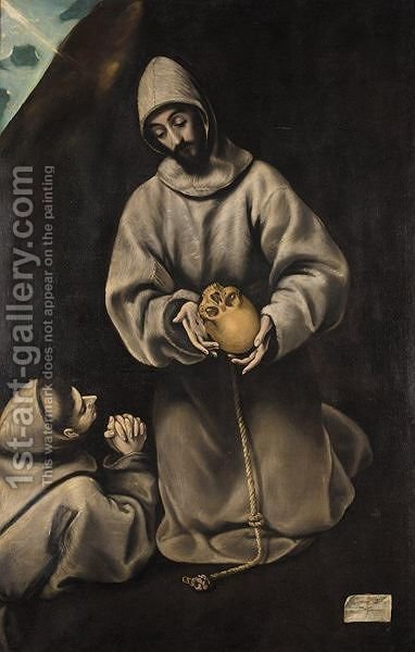 Saint Francis And Brother Leo Meditating On Death by (after) El Greco (Domenikos Theotokopoulos) - Reproduction Oil Painting