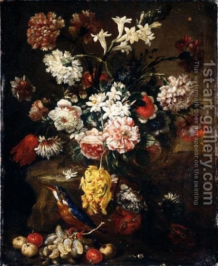 Still Life Of Various Flowers In A Basket, Together With Grapes, Crab-Apples And A Kingfisher by (after) Bartolommeo Bimbi - Reproduction Oil Painting