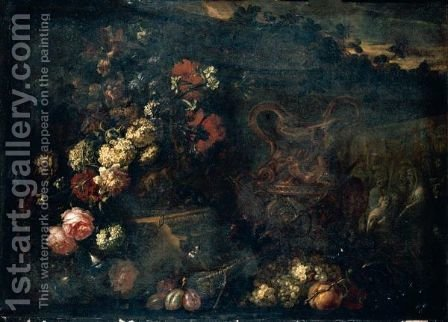 Still Life Of Flowers In A Sculpted Vase, Together With A Large Gilt Ewer, Carved Stone Reliefs And Fruit, Set Within A Landscape by (after) Jean-Baptiste Monnoyer - Reproduction Oil Painting