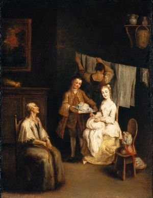An Interior With A Boy-Servant Bringing A Young Lady A Bonnet, An Elderly Lady Seated Nearby And A Maid Hanging Laundry Beyond ('La Modista')