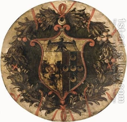 The Coat-Of-Arms Of The Piccolomini Family by Italian School - Reproduction Oil Painting