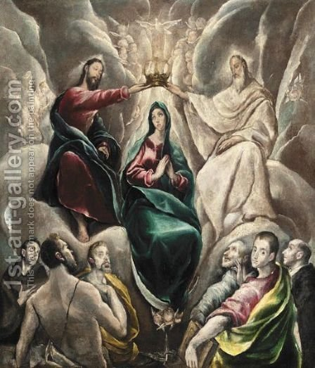 The Coronation Of The Virgin by (after) El Greco (Domenikos Theotokopoulos) - Reproduction Oil Painting