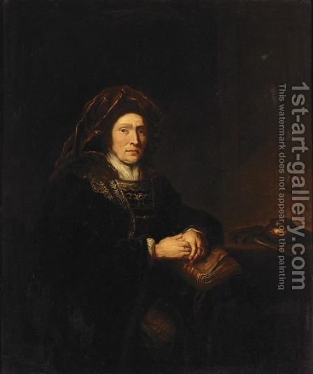 Interior With An Elderly Lady Seated Beside A Table Holding A Book And A Pair Of Pince-Nez by (after) Harmenszoon Van Rijn Rembrandt - Reproduction Oil Painting