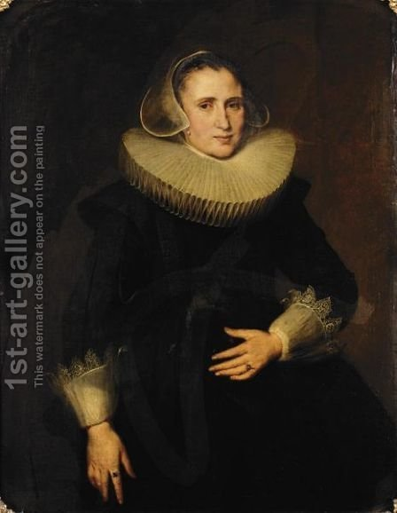 Portrait Of A Lady, Three-Quarter Length, Seated Wearing Black by (after) Nicolaes (Pickenoy) Eliasz - Reproduction Oil Painting