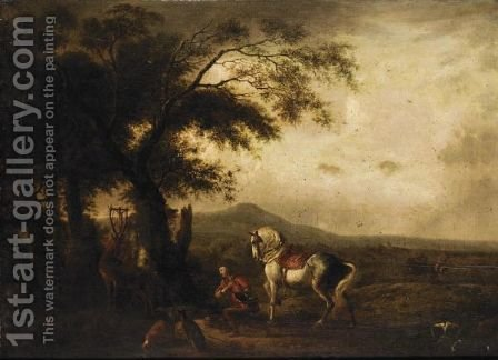 A Landscape With Saint Hubert by (after) Philips Wouwerman - Reproduction Oil Painting