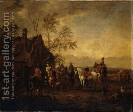 Elegant Riders Halted At An Inn by (after) Philips Wouwerman - Reproduction Oil Painting