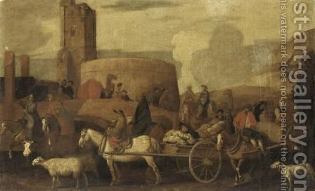 Landscape With A Caravan Crossing A Bridge by (after) Cornelis De Wael - Reproduction Oil Painting