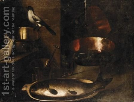 Still Life With A Fish In A Wooden Bowl, A Bird, And Various Kitchen Utensils by (after) Sebastien Stoskopff - Reproduction Oil Painting
