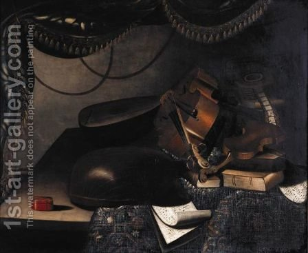 Still Life Of Musical Instruments, Books And Sheet-Music, All On A Table Partly Draped With A Carpet by (after) Bartolomeo Bettera - Reproduction Oil Painting