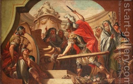 Alexander Cutting The Gordian Knot by (after) Fedele Fischetti - Reproduction Oil Painting