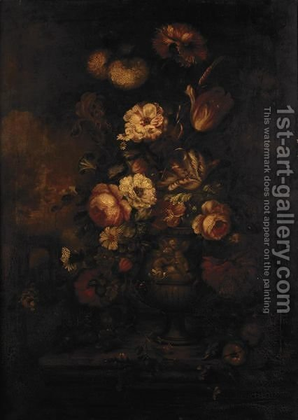 Still Life With Various Flowers In A Stone Urn In A Parkland Setting by (after) Huysum, Jan van - Reproduction Oil Painting