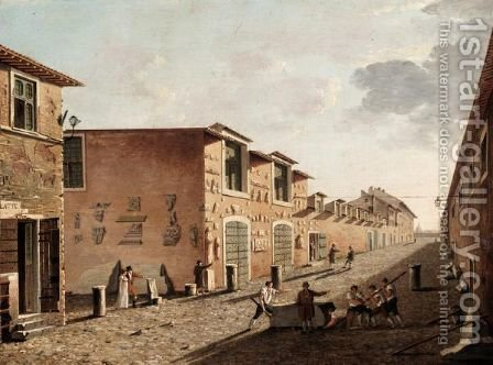 Rome, A View Of Canova's Studio In Via San Giacomo by (after) Ippolito Caffi - Reproduction Oil Painting