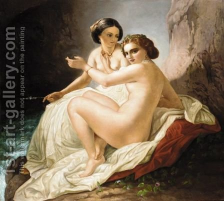 Two Young Women In A Grotto by (after) Timofey Andreevich Neff - Reproduction Oil Painting