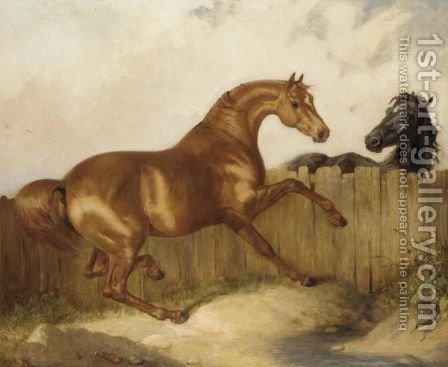 A Black Horse And Chestnut Horse by (after) James Ward - Reproduction Oil Painting