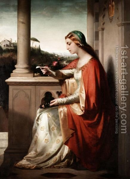 The Love Letter by Italian School - Reproduction Oil Painting
