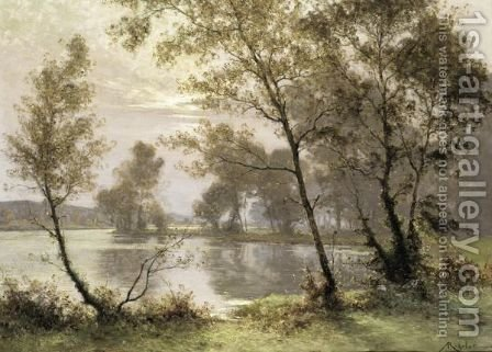 The Riverbank At Sunrise by Albert Gabriel Rigolot - Reproduction Oil Painting