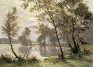 Reproduction oil paintings - Albert Gabriel Rigolot - The Riverbank At Sunrise