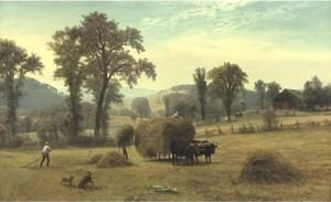 Reproduction oil paintings - Albert Bierstadt - Gathering Hay, New Hampshire