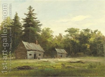 Woodland Cabin by Albert Bierstadt - Reproduction Oil Painting