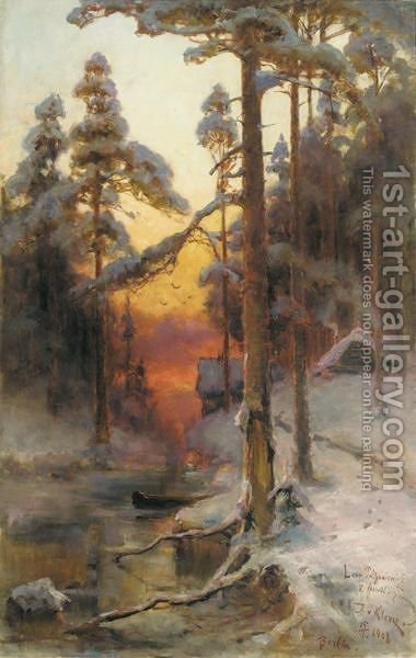 Sunset In The Forest by Iulii Iul'evich (Julius) Klever - Reproduction Oil Painting