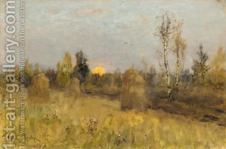 Twilight Over The Haystacks by Iulii Iul'evich (Julius) Klever - Reproduction Oil Painting