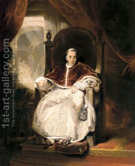 Portrait Of Luigi Barnaba Chiaramonti, Pope Pius VII (1742-1823) by (after) Lawrence, Sir Thomas - Reproduction Oil Painting