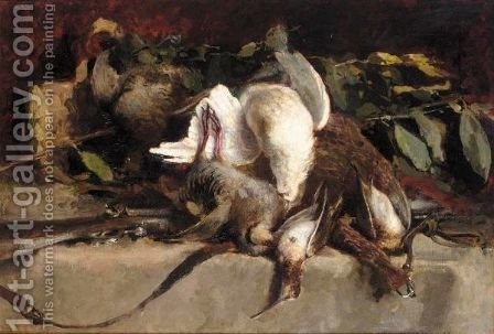 Natura Morta Con Cacciagione (Still Life With Game) by Giovanni Segantini - Reproduction Oil Painting