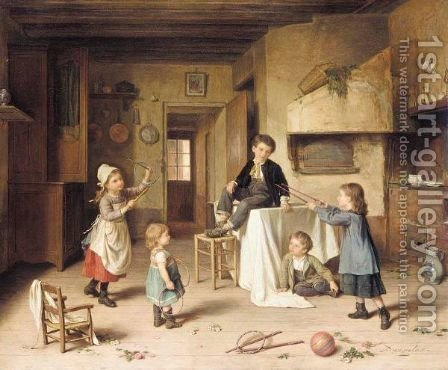 Playtime by Andre Henri Dargelas - Reproduction Oil Painting