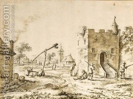 A Village Street, With Four Soldiers By A Tower To The Right And A Draw-Well To The Left by Herman Saftleven - Reproduction Oil Painting