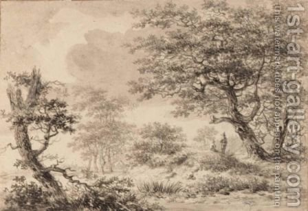 A Wooded Landscape With Figures Resting Under A Tree by Hermanus Van Brussel - Reproduction Oil Painting