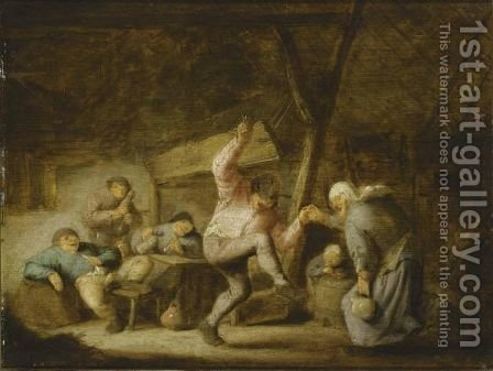 Peasants In An Inn With A Couple Dancing To The Music Of A Bagpipe Player And Others Drinking And Smoking At A Table by Adriaen Jansz. Van Ostade - Reproduction Oil Painting