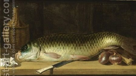 A Still Life With A Carp, Red Onions, A Knife, A Wicker-Bottle And A Paper Pouch With Tobacco, All On A Wooden Ledge by (after) Pierre Van BOUCLE (BOECKEL) - Reproduction Oil Painting