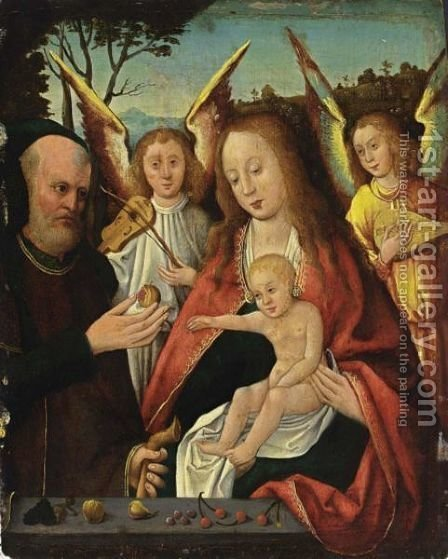 The Holy Family With Angels Making Music In A Landscape by (after) Jan Provoost - Reproduction Oil Painting