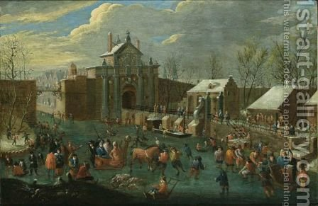 A Winter Scene With Elegant Figures Skating And A Horse-Drawn Sleigh On A Frozen Canal Outside A City Gate by (after) Jan-Pieter Van Bredael - Reproduction Oil Painting