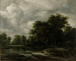 Reproduction oil paintings - Jacob Van Ruisdael - A Wooded Landscape With A Pond And Figures On A Path Near Trees