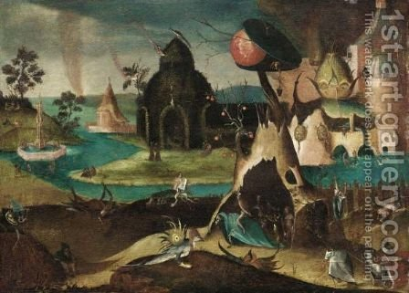 Hell Scene With The Fountain Of Life by (after) Hieronymus Bosch - Reproduction Oil Painting
