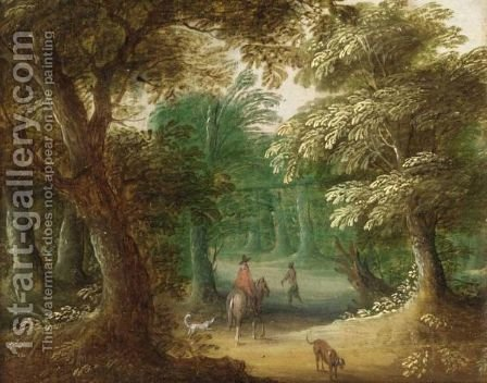 Wooded Landscape With A Horseman On A Path by (after) Jasper Van Der Laanen - Reproduction Oil Painting