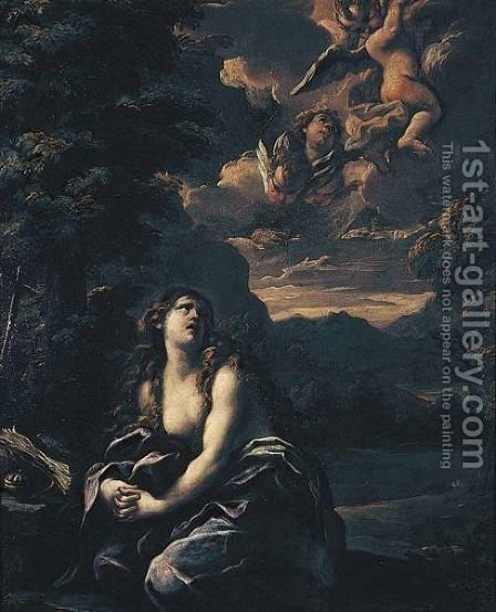 The Penitent Magdalene In A Landscape by Girolamo Troppa - Reproduction Oil Painting