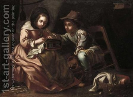 An Interior With A Young Seamstress Together With A Young Boy Carrying A Brazier, Possibly An Allegory Of Winter by (after) Bernhard Keil - Reproduction Oil Painting