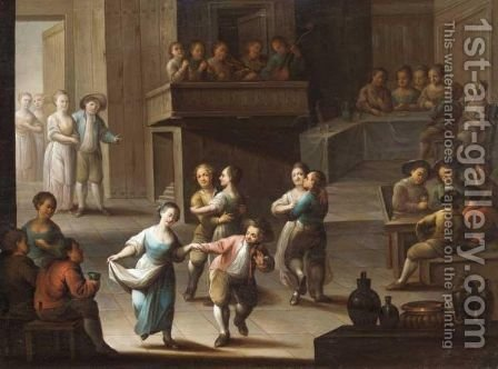 Interior With Figures Dancing Below A Gallery Of Musicians by (after) Justus Juncker - Reproduction Oil Painting