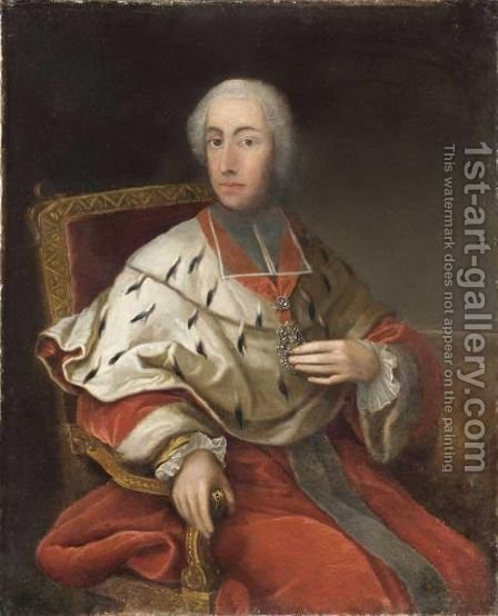 Portrait Of Cardinal Clement Augustus Von Wittelsbach, Archbishop Elector Of Cologne (1723-61) by (after) Georg Desmarees - Reproduction Oil Painting