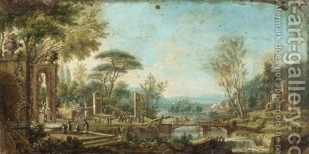 Extensive River Landscape, With Figures Amongst Classical Ruins by (after) Tommaso Ruiz - Reproduction Oil Painting
