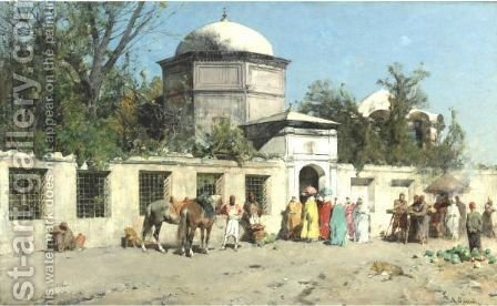 Outside The Palace by Alberto Pasini - Reproduction Oil Painting