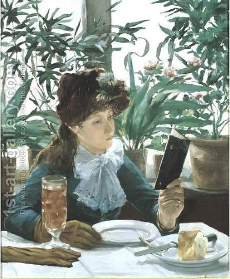 La Lecture Au Cafe by Alexandre-Auguste Hannotiau - Reproduction Oil Painting
