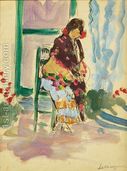 Femme Au Chale by Henri Lebasque - Reproduction Oil Painting