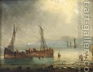 Bringing In The Catch by Herminie Gudin - Reproduction Oil Painting