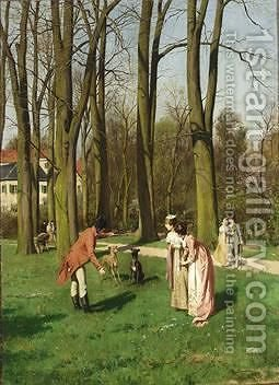 Elegant Figures In A Garden by Hans Bachmann - Reproduction Oil Painting